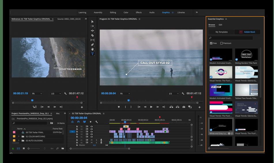 Монтирование видео в программном обеспечении Adobe Premiere Pro