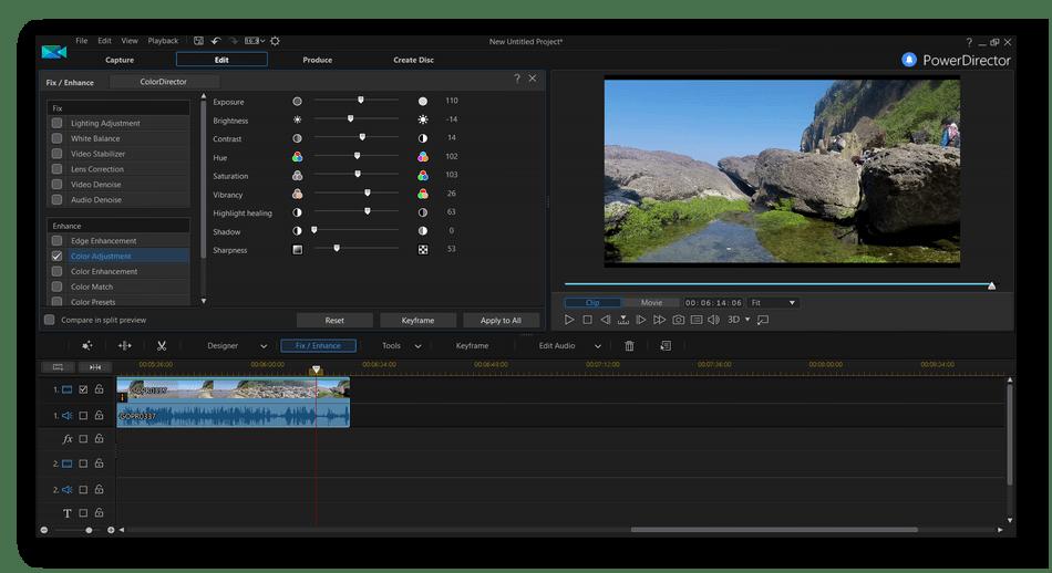 Монтирование видеороликов в программе CyberLink PowerDirector