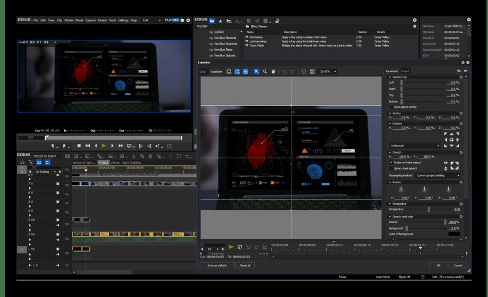 Монтирование видеороликов в программе EDIUS Pro