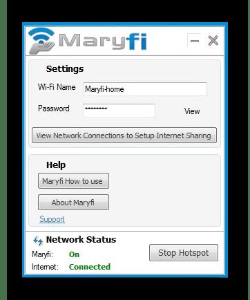 Использование программы MaryFi для раздачи интернета с ноутбука