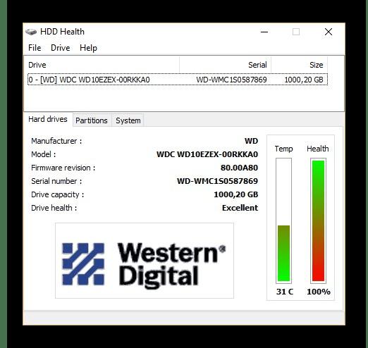 Главное окно программы HDD Health