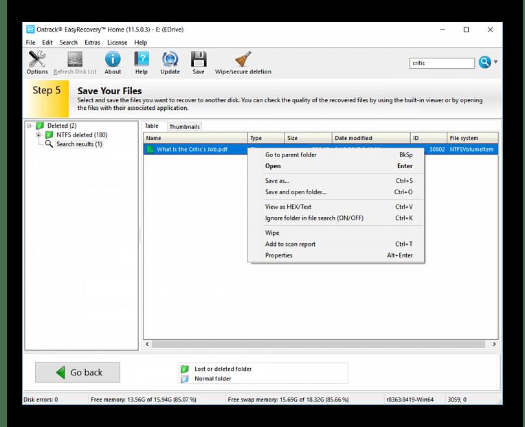 Процедура восстановления файлов в Ontrack EasyRecovery