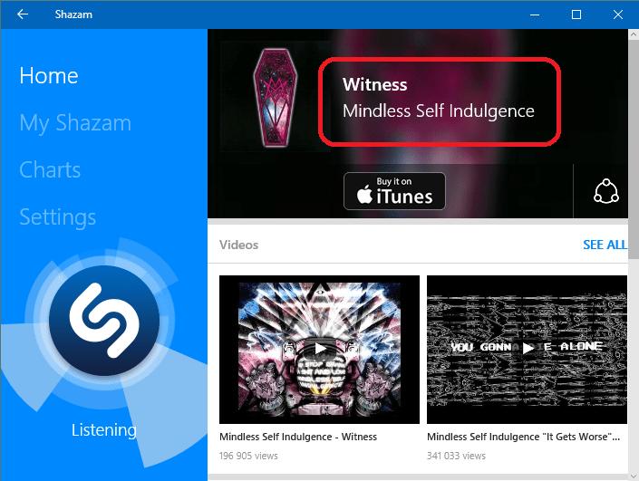 Распознанная песня в Shazam