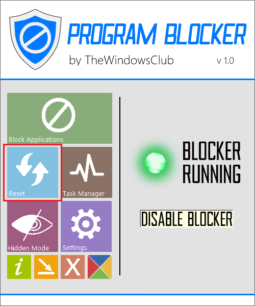 Сброс программы в Program Blocker
