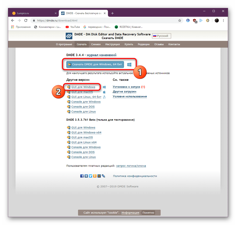 Скачивание последней версии программы DMDE с официального сайта