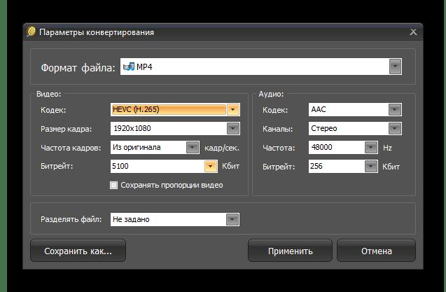 Детальная настройка выбранного формата для конвертирования в ВидеоМАСТЕР