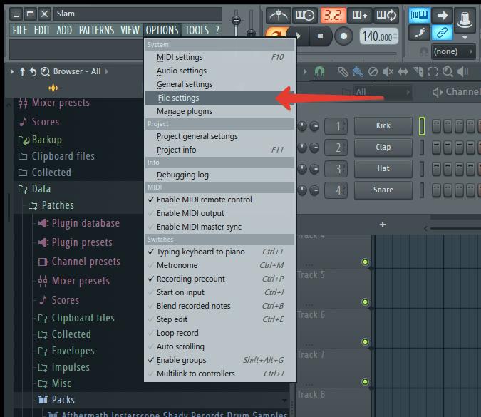 Настройки в FL Studio