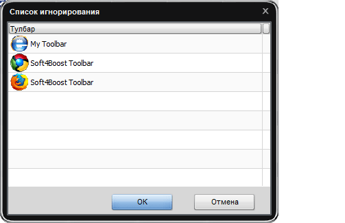 Список игнорирований в программе Toolbar Cleaner