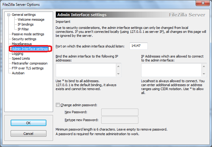 Admin Interface Settings программы FileZilla Server