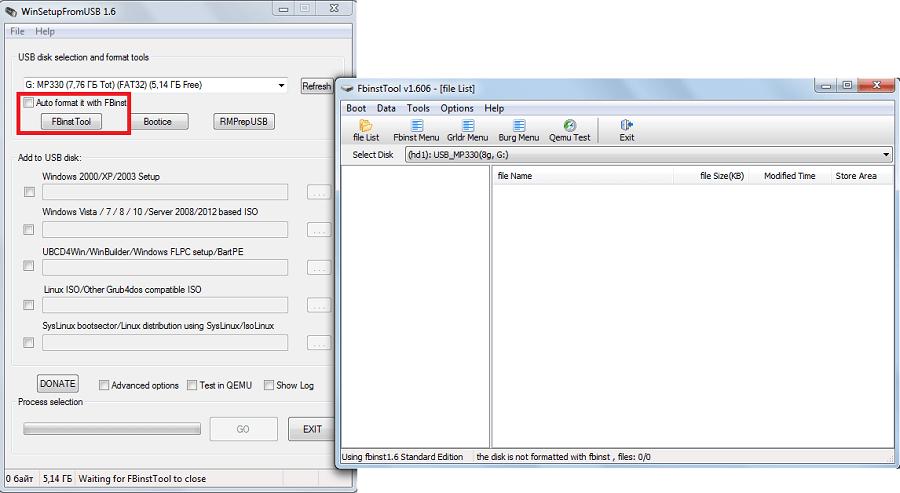 FBinst Tool в WinSetupFromUsb