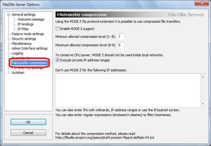Filetransfer compression  программы FileZilla Server
