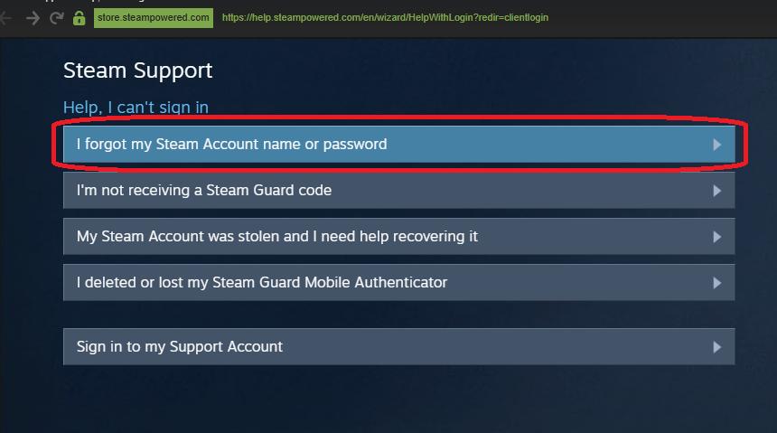 Кнопка открытия формы восстановления пароля или логина от Steam