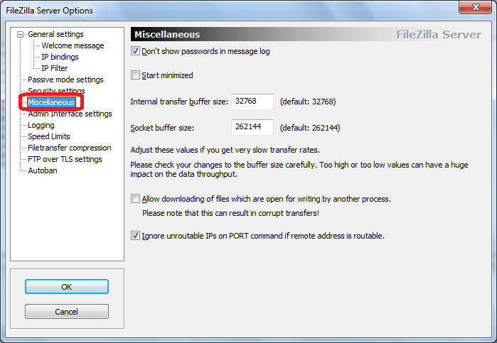 Miscellaneous программы FileZilla Server