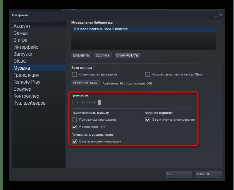 Настройка параметров работы плеера в Steam