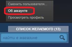 Переход к настройкам аккаунта в Steam