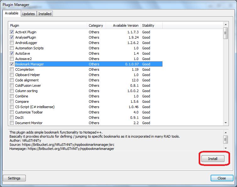 Переход к установке выбранных плагинов в программе Notepad++