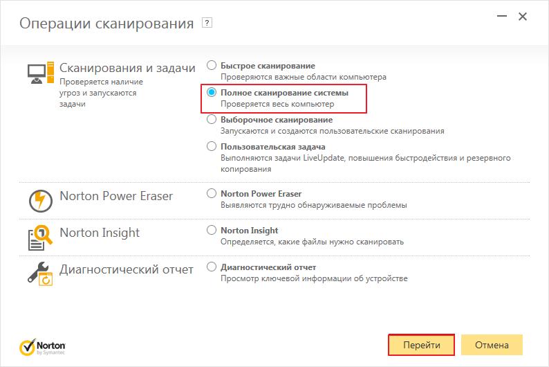 Полное сканирование в программе Norton Internet Security