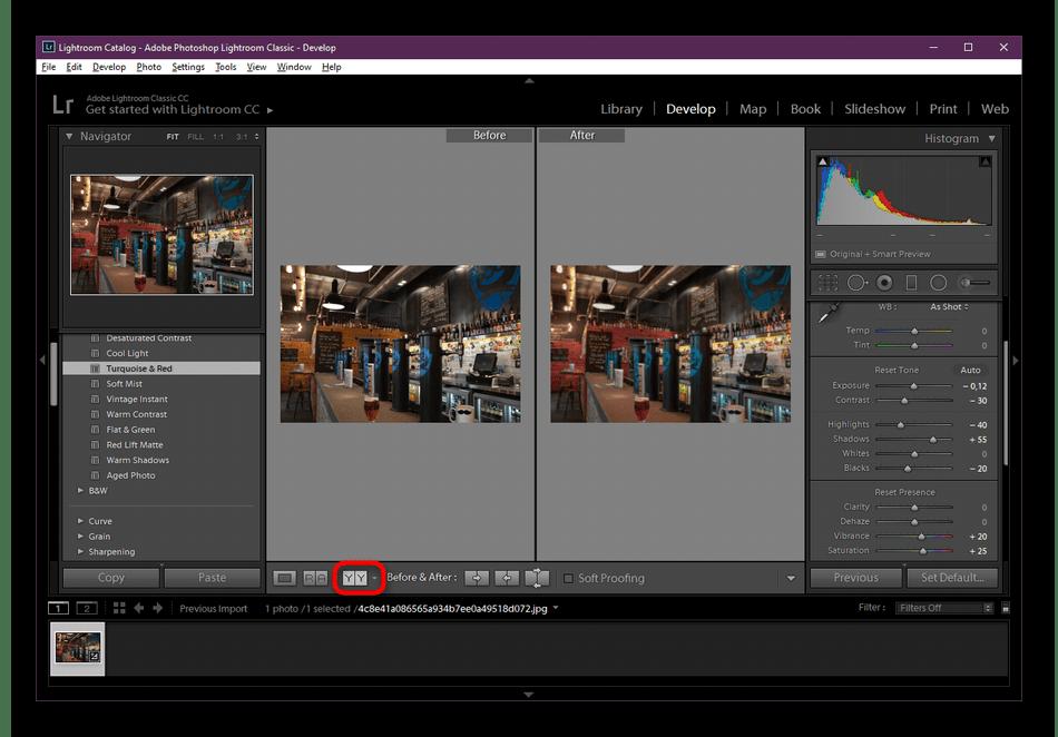 Посмотреть результат до и после обработки в Adobe Lightroom