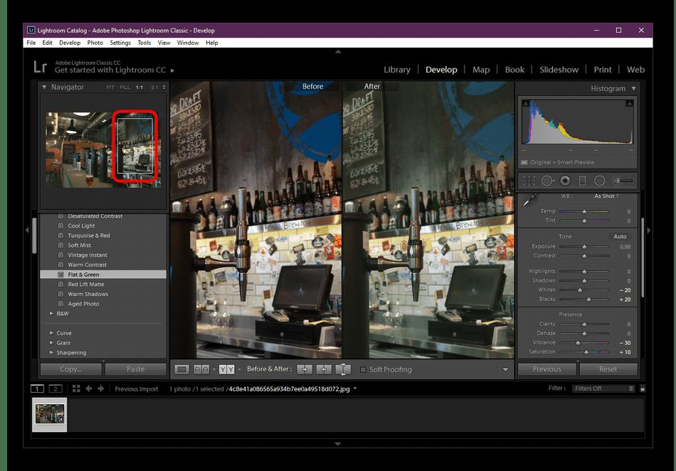 Приблизить изображение с помощью масштабирования в программе Adobe Lightroom