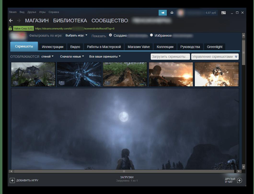 Просмотр и управление скриншотами через профиль в Steam
