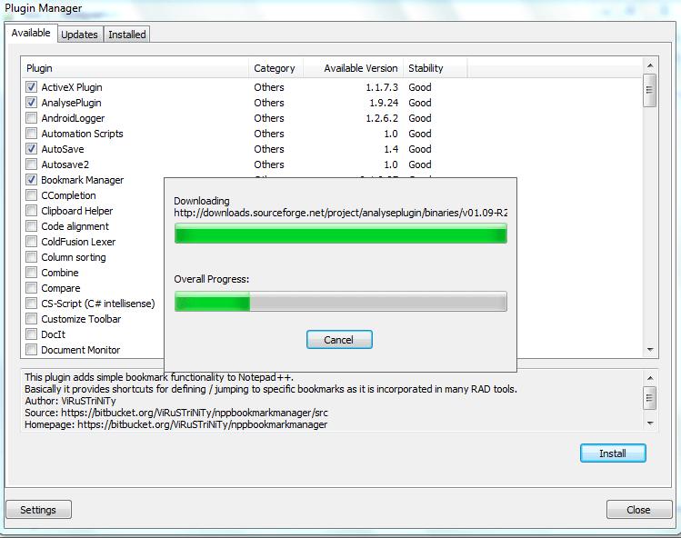Процесс установки плагинов в программе Notepad++
