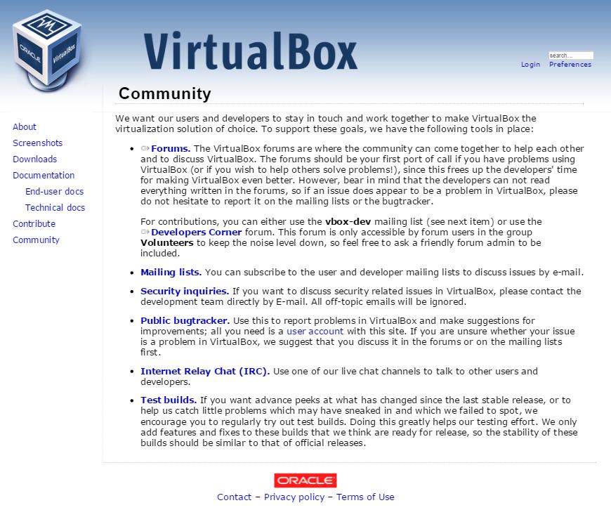 Справка и поддержка VirtualBox