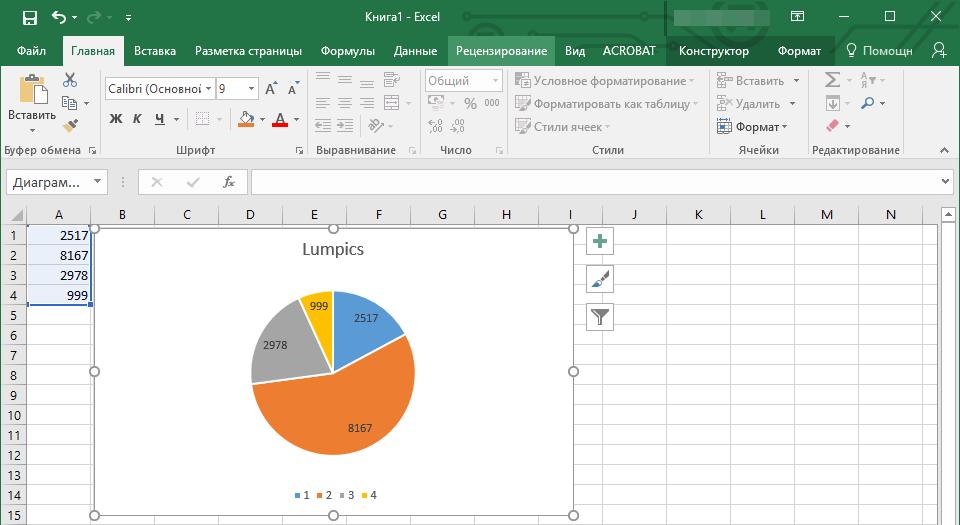 Связанная диаграмма в Excel в Word