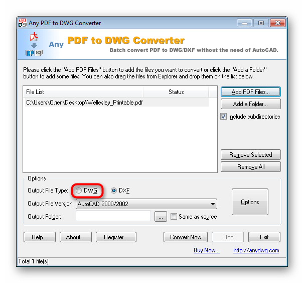 Выбрать формат для конвертирования в Any PDF to DWG Converter