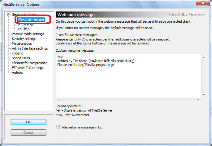 Welcome message программы FileZilla Server