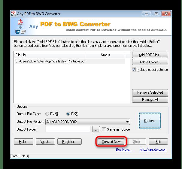 Запуск конвертирования в программе Any PDF to DWG Converter