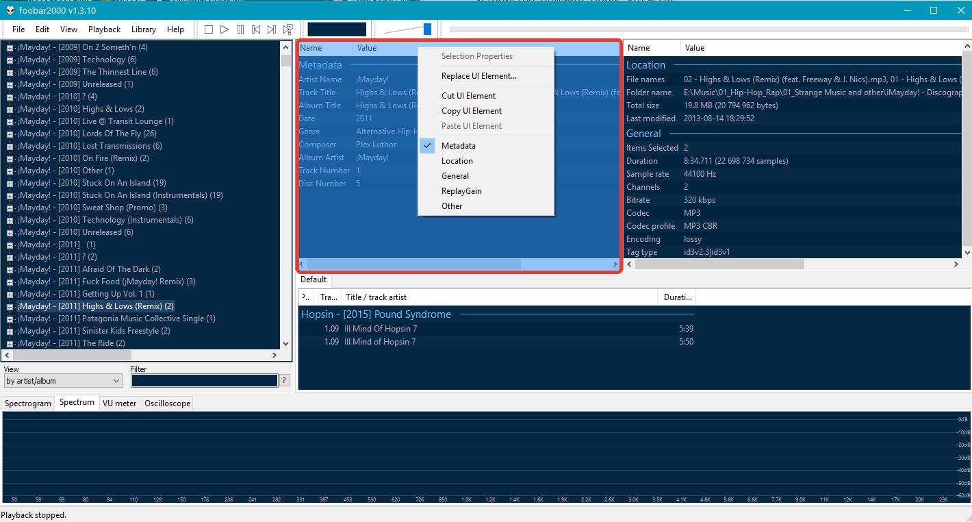 кастомизация внешнего вида Foobar2000