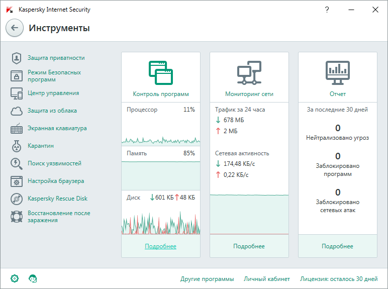 отчеты от Kaspersky Internet Security