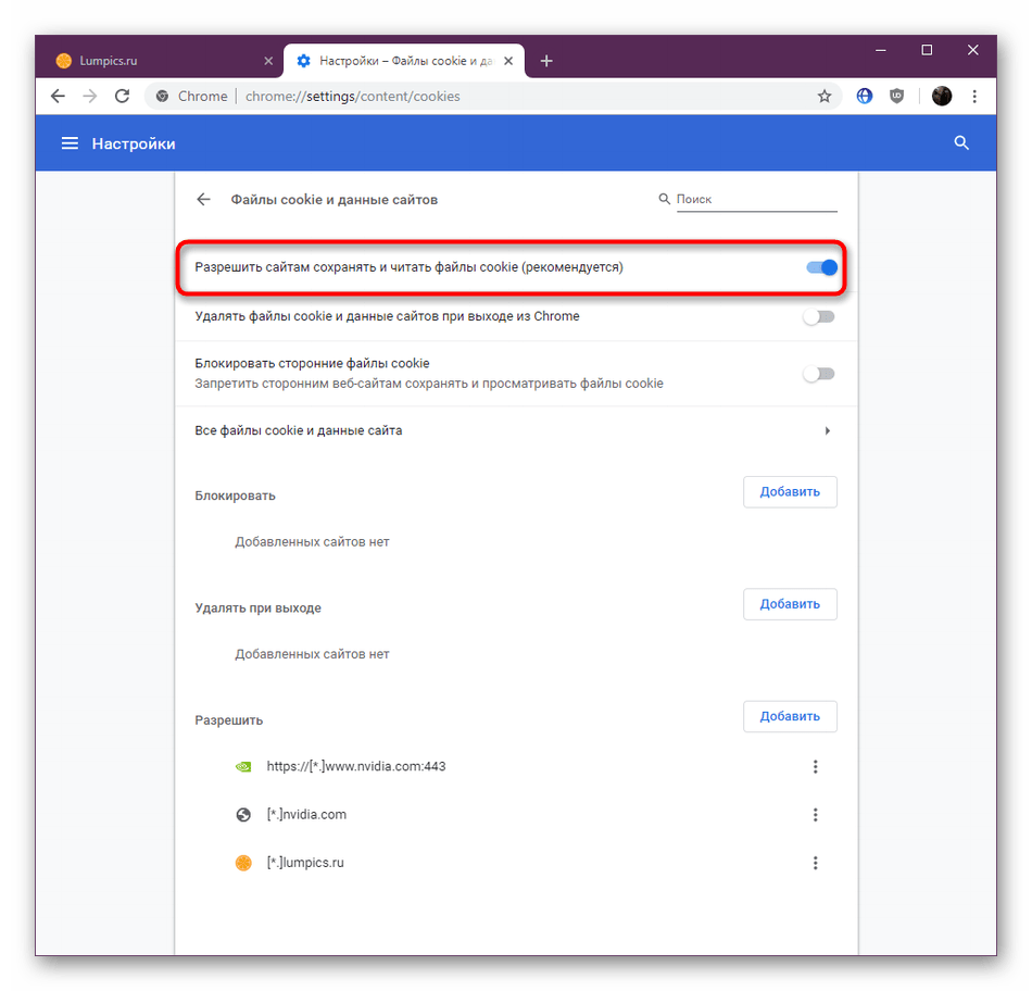 Переключатель для включения сохранения куки-файлов в браузере Google Chrome