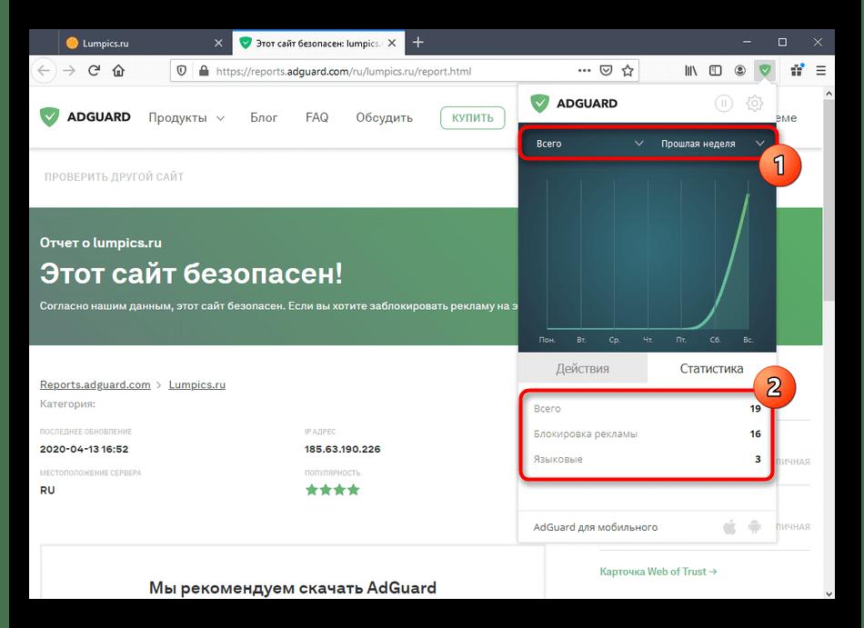 Просмотр статистики использования расширения AdGuard в Mozilla Firefox