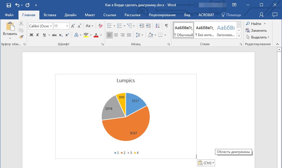 связанная диаграмма в Word