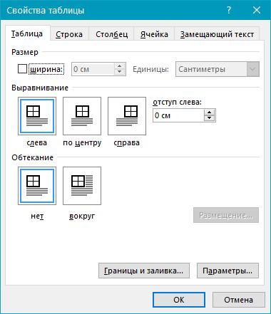таблица (параметры) в Word