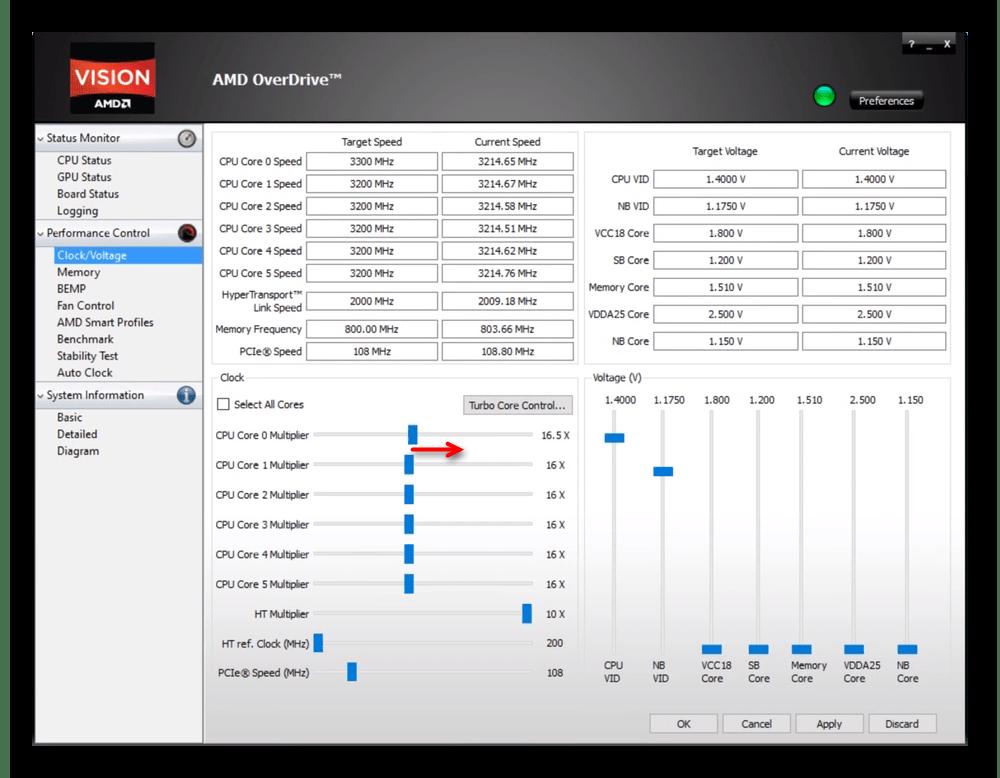 Увеличение частоты ядра процессора в AMD OverDrive