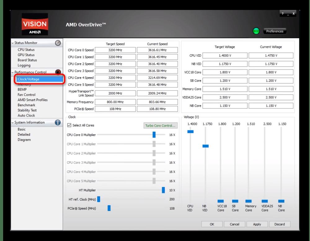 Вкладка Clock Voltage для разгона процессора в AMD OverDrive