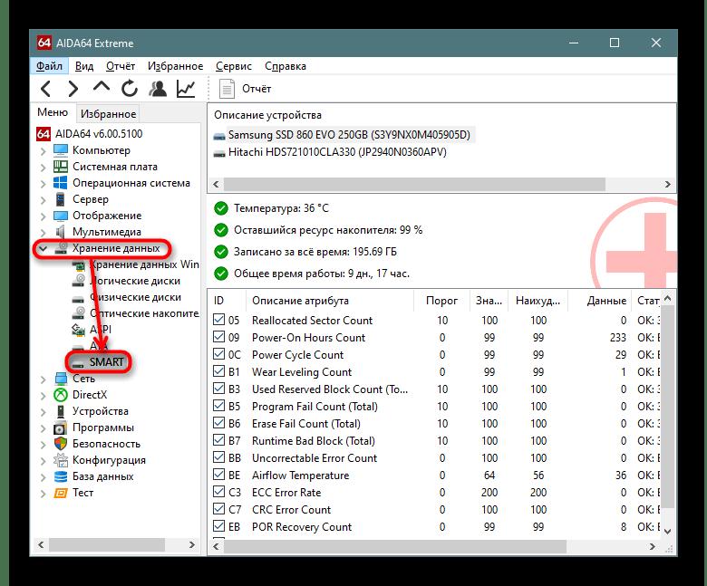 SMART-показатели накопителя в AIDA64