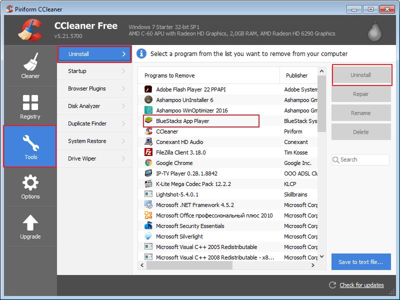 Удаление BlueStacks с помощью программы CCleaner
