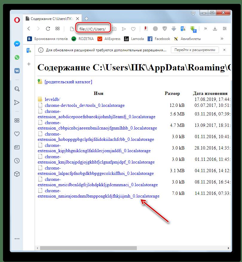 Файлы истории посещений веб-обозревателя в окне браузера Opera