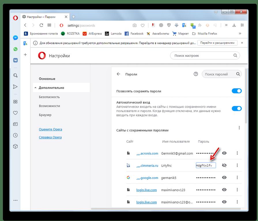 Пароль к сайту отобразился в окне настроек в браузере Opera