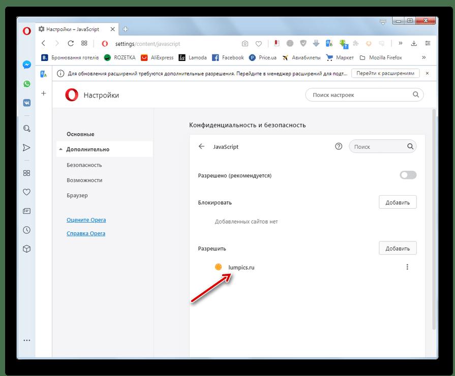 На указанном веб-ресурсе разрешена активация JavaScript в окне настроек браузера Opera
