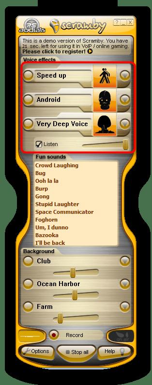 Настройка голоса для Skype в программе Scramby