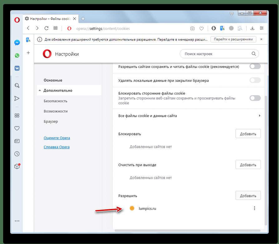 Прием файлов cookie для отдельного сайта включен в окне дополнительных настроек безопасности в браузере Опера