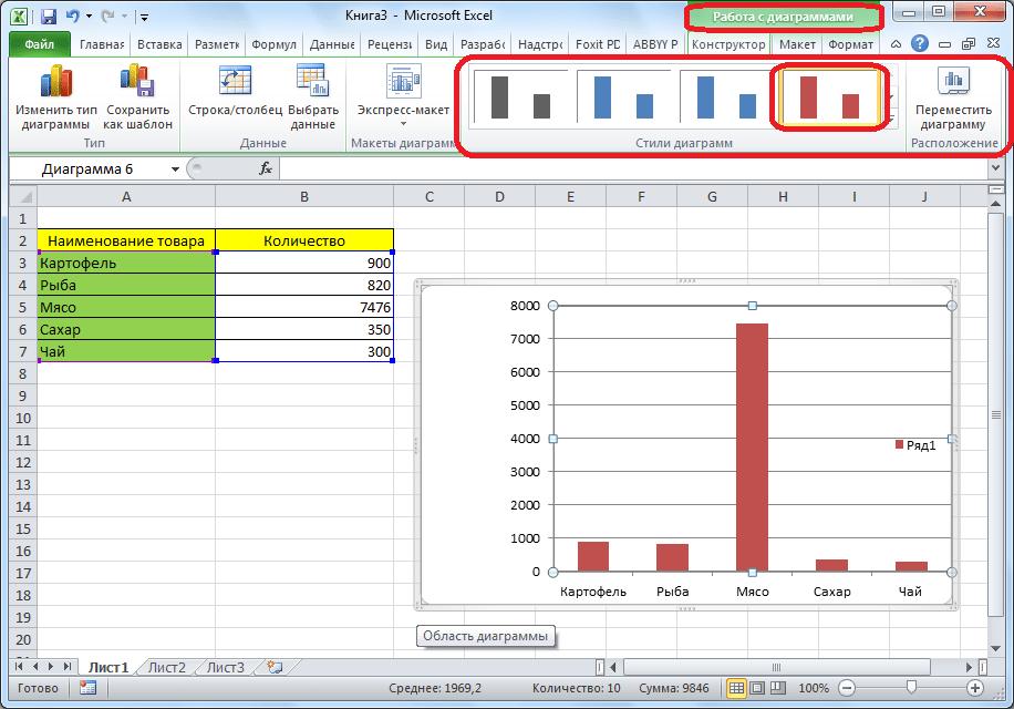 Изменение стиля диаграммы в Microsoft Excel