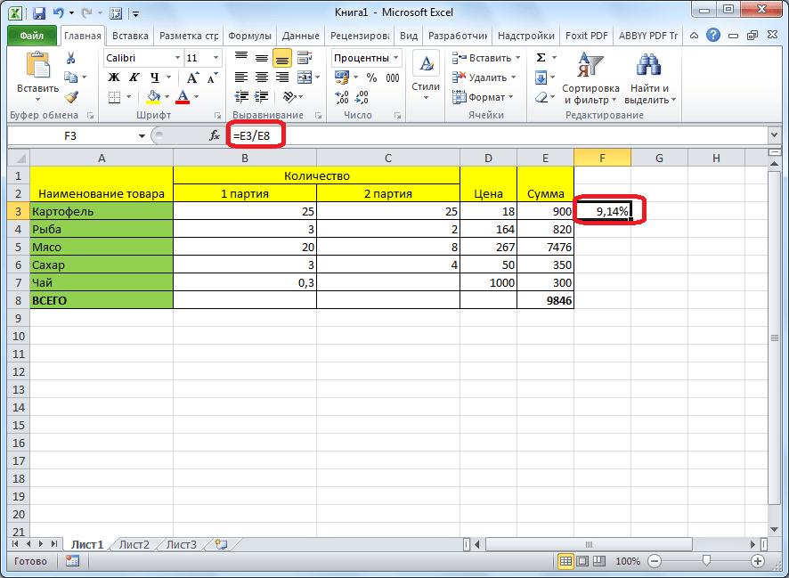 Результат формулы с процентами для таблицы в программе Microsoft Excel