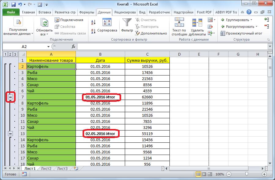 Сворачивание промежуточных итогов в Microsoft Excel