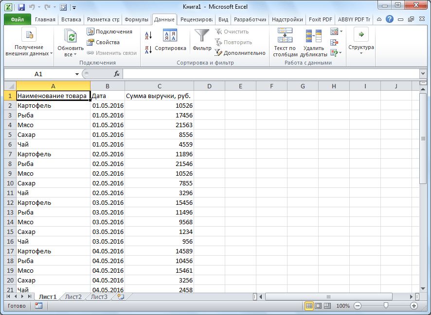 Таблица вставлена в программе Microsoft Excel