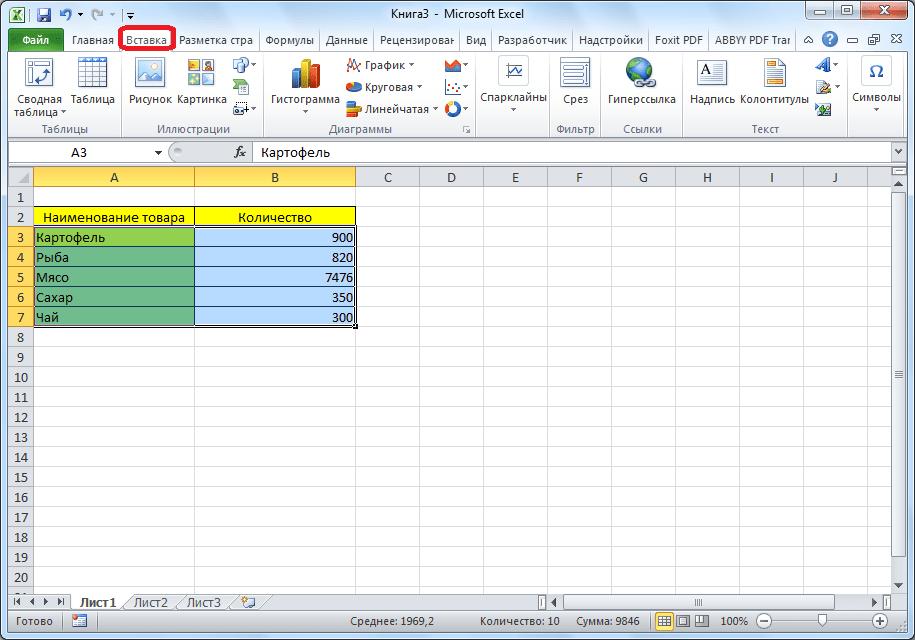Выделение области таблицы в Microsoft Excel